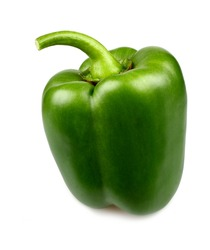 Green pepper on white background, close up