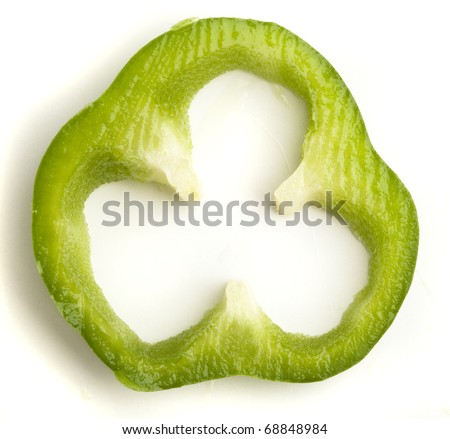green pepper slice isolated on a white background