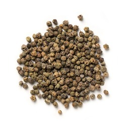 Green Peppercorn –Pile of Dried Pepper Berry, Flavoring Spice – Top View, Close-Up Macro, from Above – Isolated on White Background