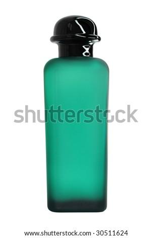 Green perfume bottle. Isolated on white