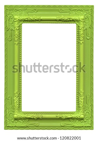 green picture frame isolated on white background