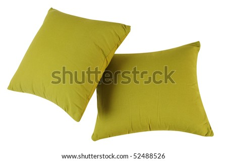 Green pillows. Isolated