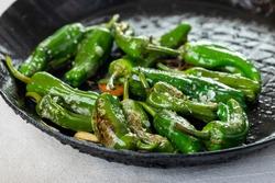green pimientos de padron with sea salt