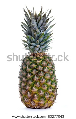 Green Pineapple isolated over white Background