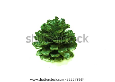 Green pinecone with glitters #532279684