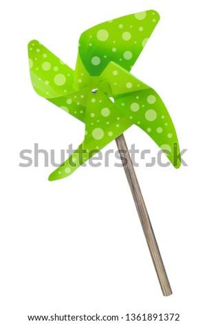 Green pinwheel isolated against white background #1361891372