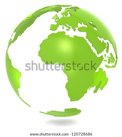 Green Planet. Abstract 3d Green Earth model. Isolated.