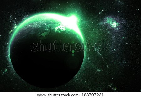 Green Planet at Sunrise - Elements of this Image Furnished By NASA