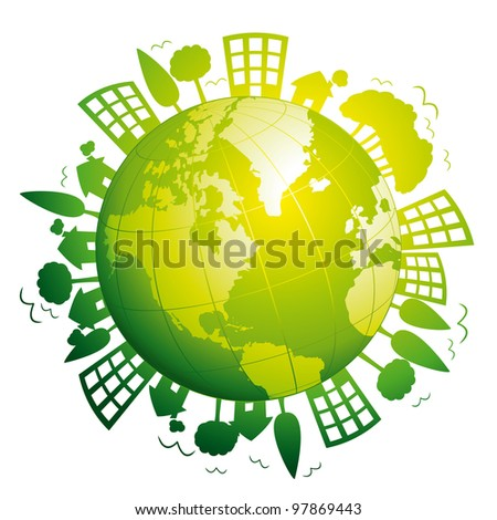 Green planet earth. Ecological concept illustration.