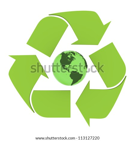 Green planet Earth inside recycling symbol, concept of environmental conservation, isolated on white background. Elements of this image furnished by NASA