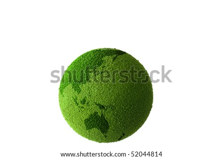 Green planet earth showing a green globe