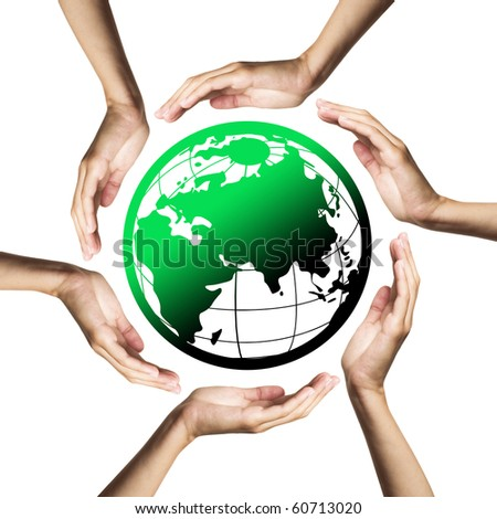 Green planet (Earth) surrounded by hands