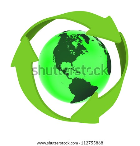 Green planet Earth with green arrows circled around it, concept of conservation and recycling, isolated on white background. Elements of this image furnished by NASA