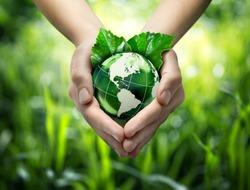 Green planet in your heart hands - usa - environment concept