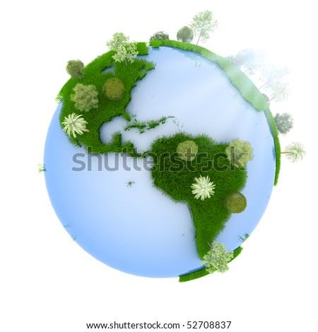 Green planet. Sunrise - stock photo
