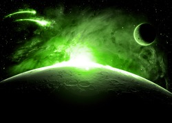 Green Planet Surface - Elements of This Image Furnished By NASA