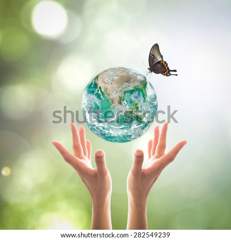 Green planet with butterfly over human hands  in blurred green bokeh background of natural tree leaves  facing sun flare : World environment day concept: Elements of this image furnished by NASA