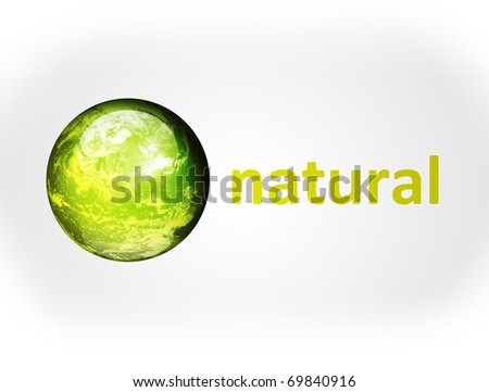 Green planet with natural advertisement on gray background