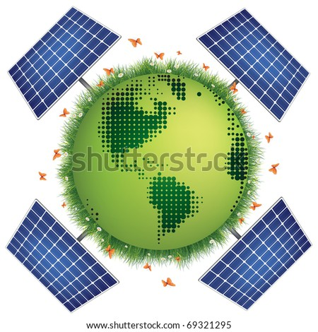 Green Planet with Solar Panels isolated on White Background.
