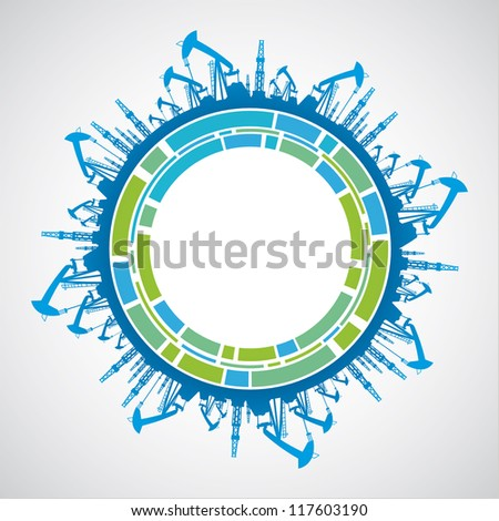 Green planet with sphere industrial abstraction. illustration. - stock photo