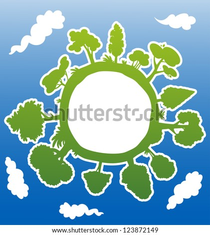Green planet with trees and atmosphere for environment concept. Vector version also available in gallery - stock photo