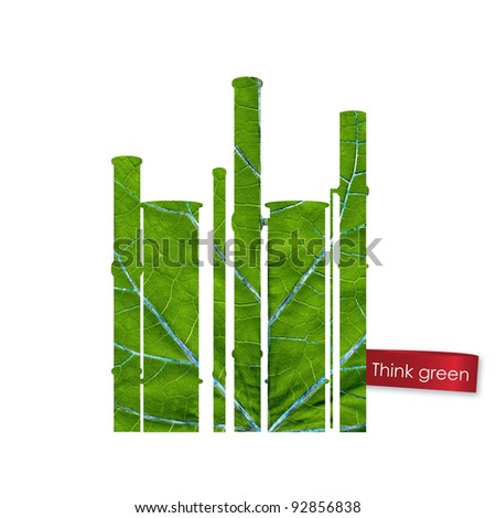 Green plant made from leaf. Think Green. Ecology Concept.
