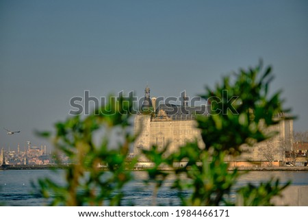 Green plants and pine tree together with blurred haydarpasa main train station in istanbul turkey