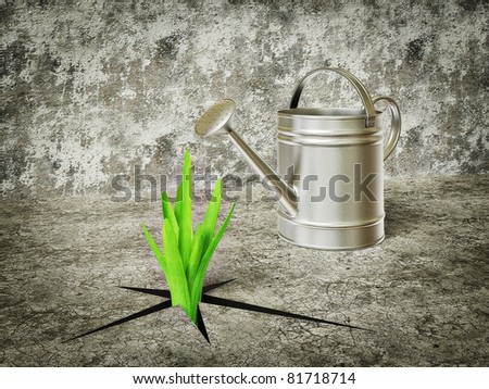 green plants grow out and watering can - stock photo