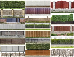 Green plants hedge and wooden rural fence  isolated on top fragments big set. All images you can find in my portfolio