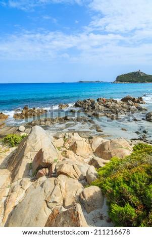 Green plants on rocks and view of beautiful azure sea water of Porto Giunco beach, Sardinia island, Italy