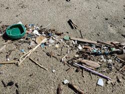 Green plastic bottle cork on sandy sea coast, polluted ecosystem,microplastics