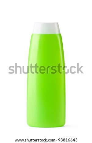 Green plastic bottle for shampoo. Isolated on a white.