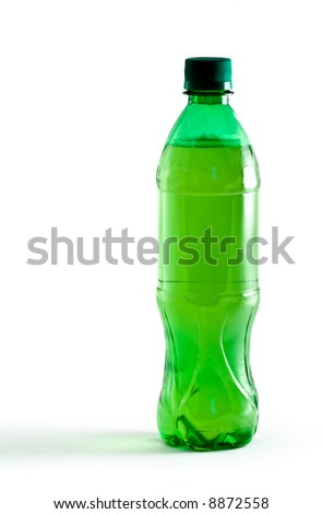 Green plastic bottle with a drink isolated on white
