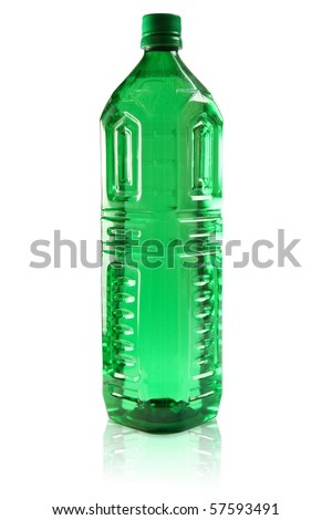 Green plastic bottle without label, full of transparent liquid, isolated on white background
