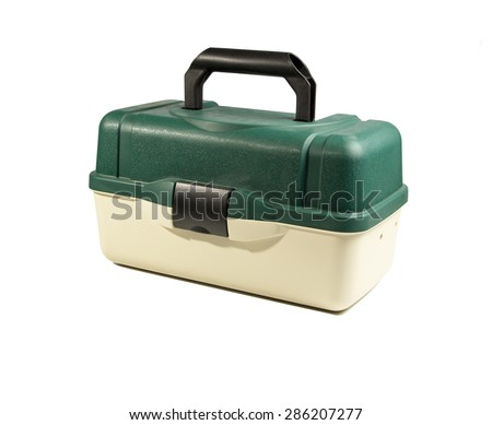 Green plastic box for fishing tackle on an isolated white background #286207277