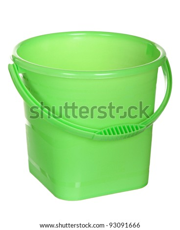 Green plastic bucket isolated on a white background. empty Green plastic household bucket on a white background