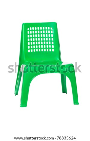 Green plastic chair isolated on white background
