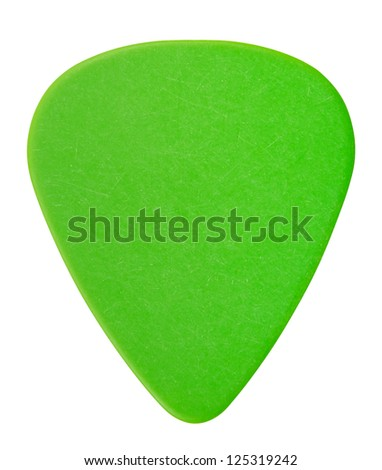 green plastic guitar plectrum, isolated on white