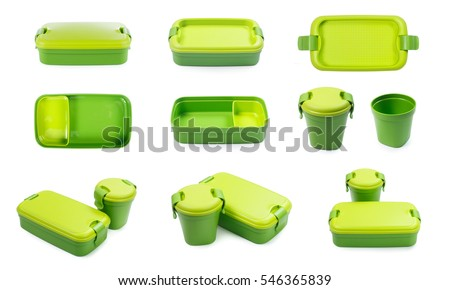 Green plastic lunch box isolated on white background