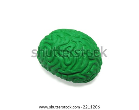 Green plastic model of the human brain isolated on white background. Contains Clipping Path