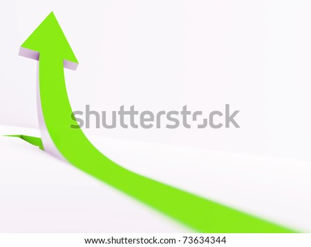 green pointer going up on a white background