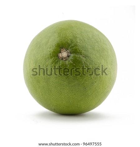 Green pomelo citrus fruit on white Backgorund