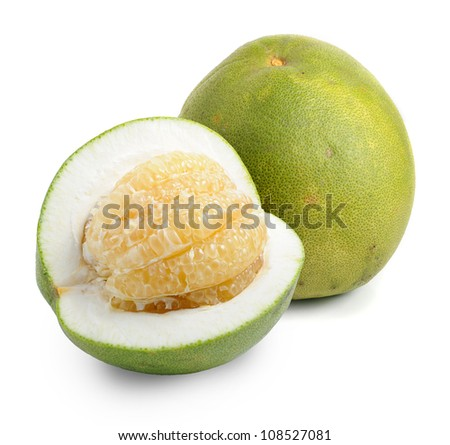 Green pomelo fruit on white Backgorund