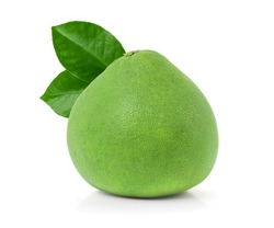 green pomelo with leaves isolated on white background with clipping path, Thailand Siam ruby pomelo fruit.