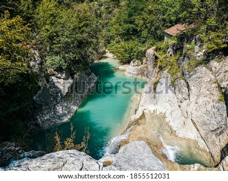 Green pool under waterfall surrounded by forest. Water, stream, river, forest. Kotli, Istria, Croatia. Zdjęcia stock ©