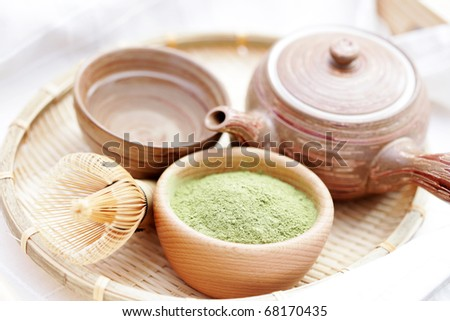 green powder tea with bamboo whisk - tea time