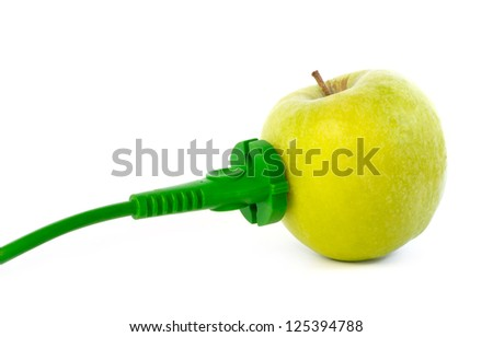 Green power cable attached to apple outlet against white background