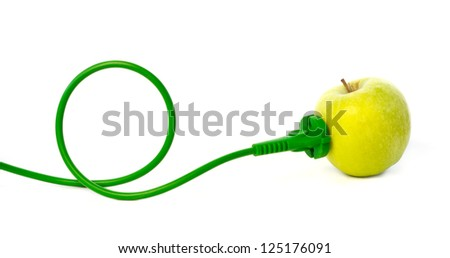 Green power cord plugged into apple outlet against white background