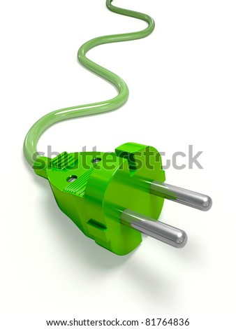 Green Power Plug - stock photo