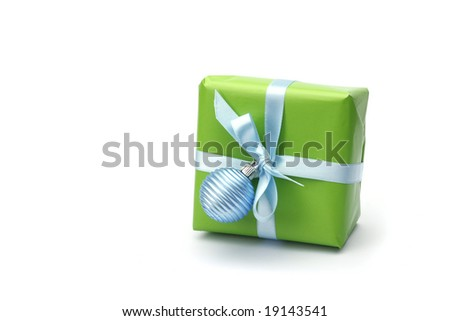 green present box with blue ribbon isolated on white background - stock photo